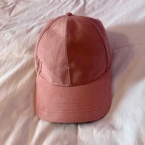 David and Young Faux Suede Blush Pink Baseball Hat